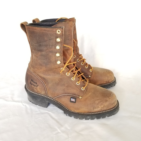 Mens Leather Workboot Usa Made Sz 95eee